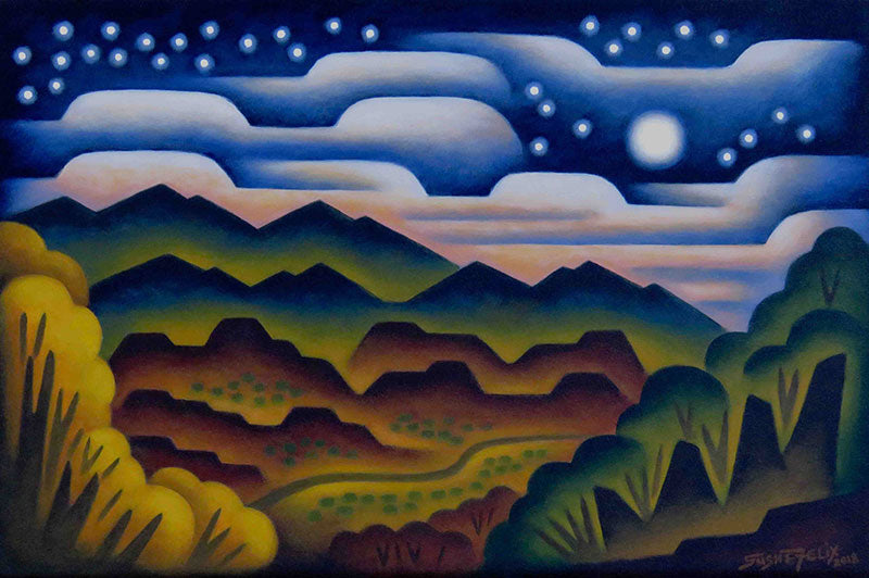 Cloudy Midnight original acrylic on panel landscape painting by Colorado artist Sushe Felix
