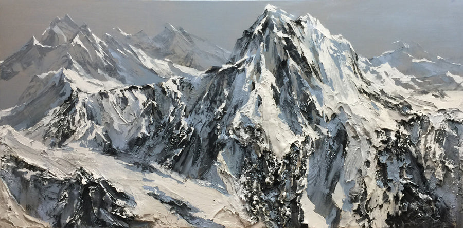Colorado Peaks original mountain landscape painting by artist Barak Rozenvain for sale at Raitman Art Galleries