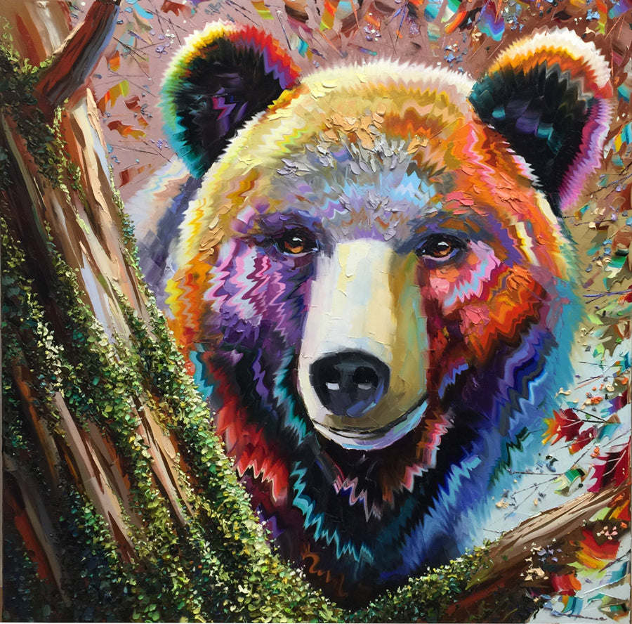 Colorful Spring oil on canvas bear painting by artist Michael Rozenvain for sale