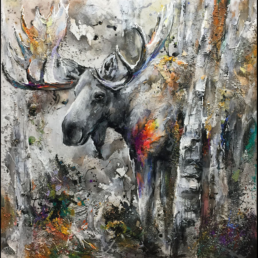 Colorful Forest Moose Painting by Artist Miri Rozenvain in Breckenridge art gallery