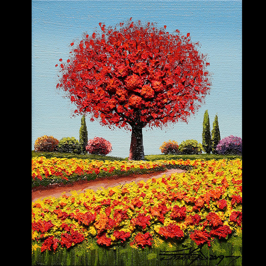 Crimson Crush original oil on canvas landscape painting by artist Mario Jung