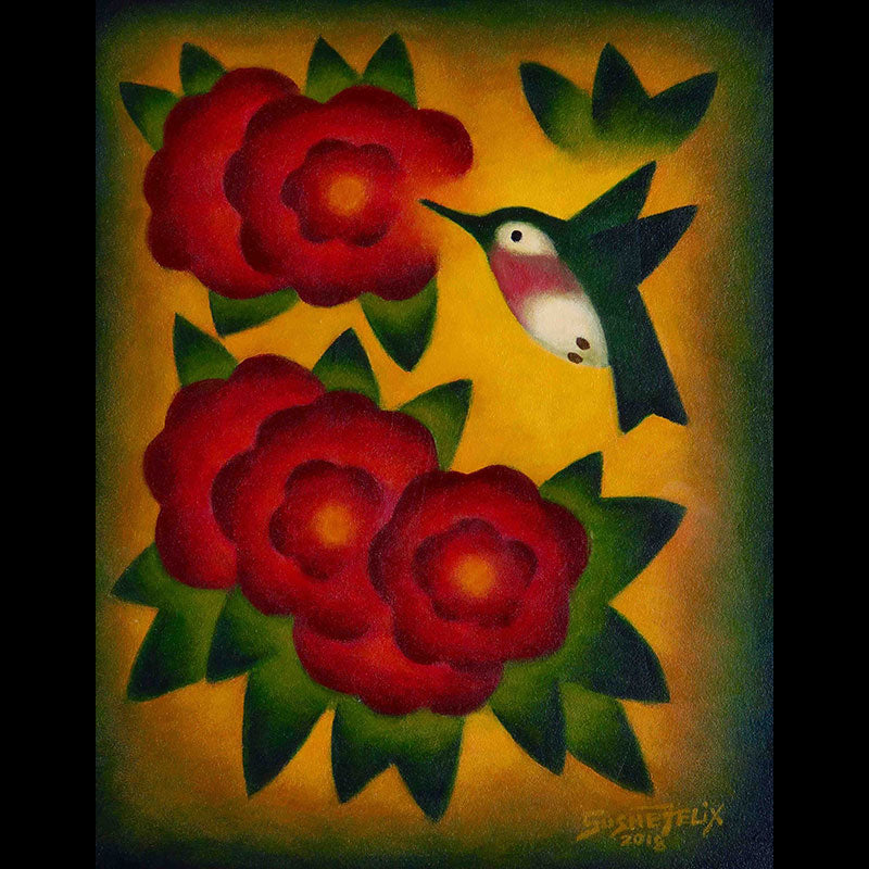 Crimson Joy original acrylic on panel wildlife painting by Colorado artist Sushe Felix