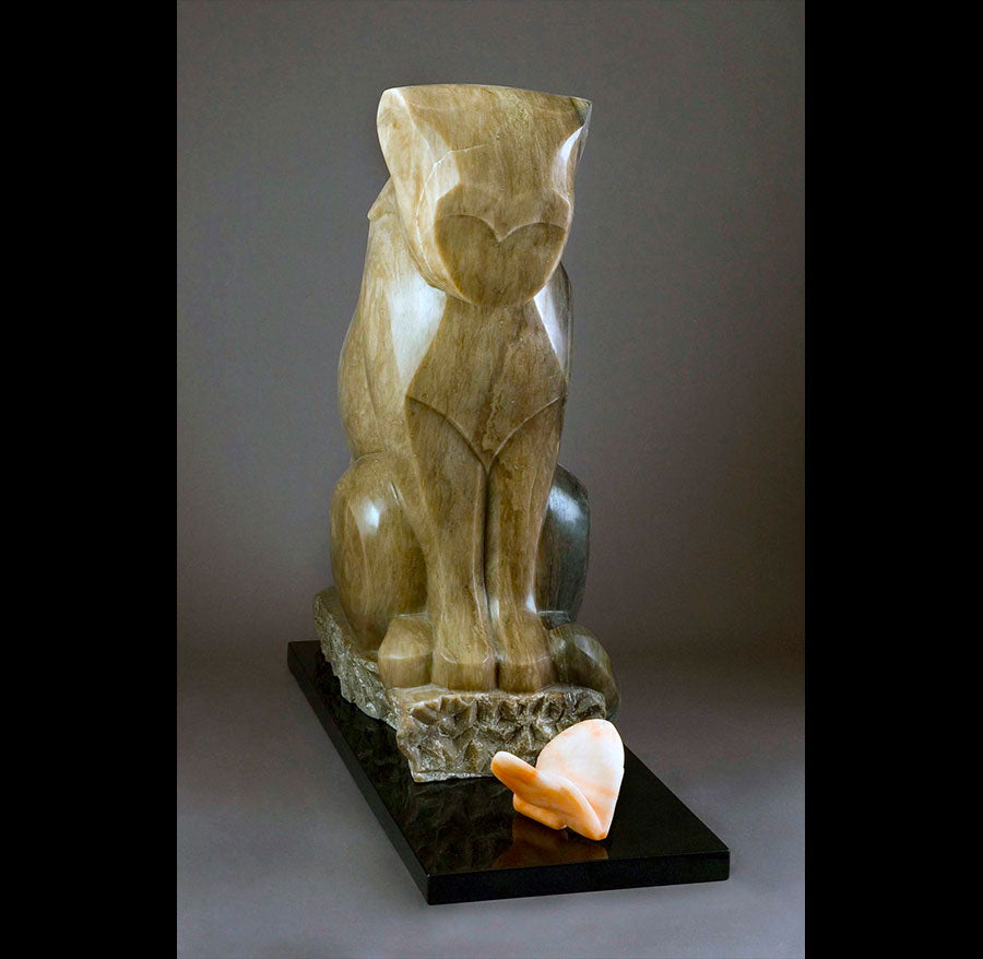 curious couple original stone sculpture by artist mark yale harris