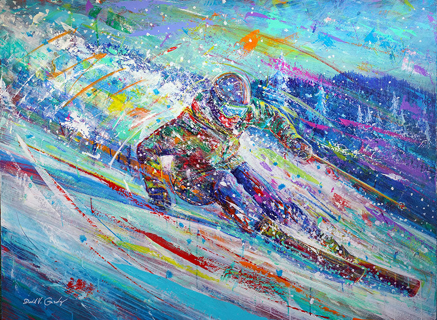 Dusk Venture original acrylic on panel ski painting by Colorado based artist David Gonzales