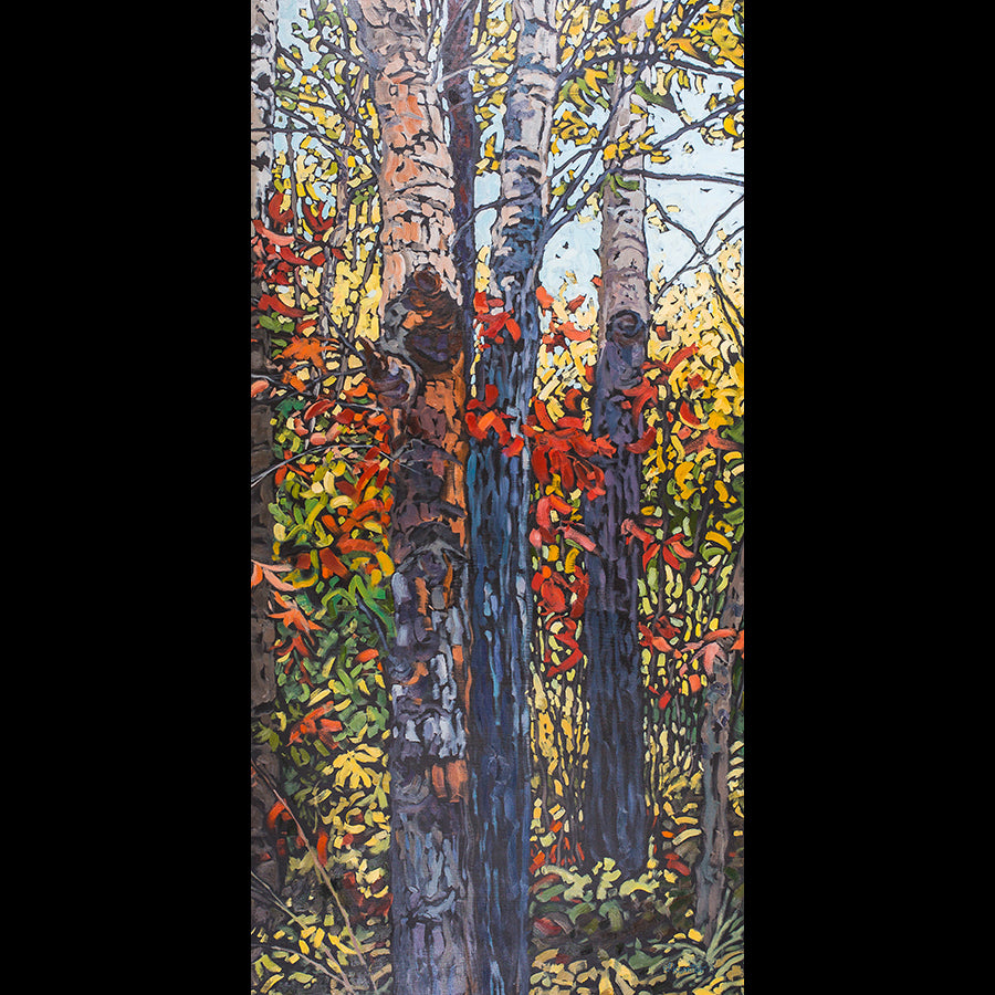 Autumn aspen painting by Deb Komitor