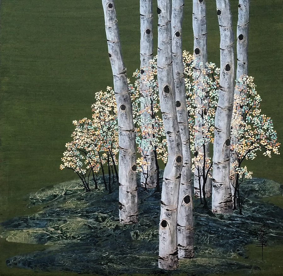 Kate McCavitt Original Painting of Aspens: Deep in the Emerald Forest