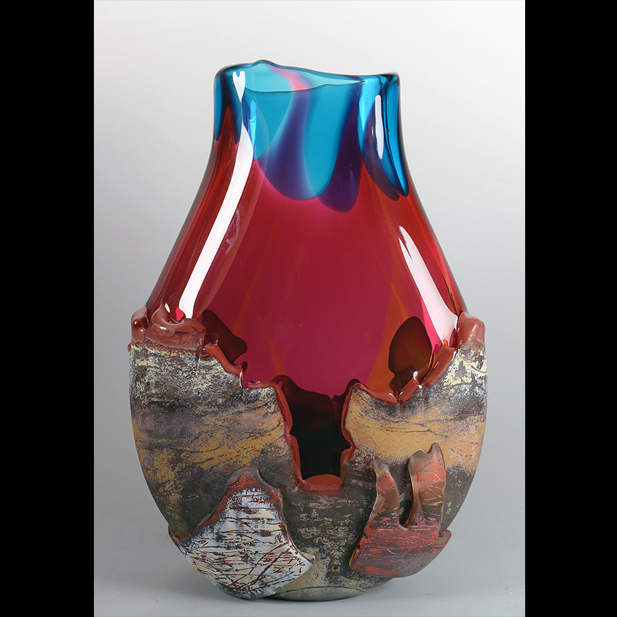 Desert Vista Sunset - Peach, Rub, Turquoise hand blown glass by artist Jared and Nicole Davis