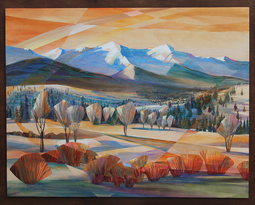 Dignified Story original acrylic on birch wood painting of the rocky mountains by Colorado artist Cynthia Duff