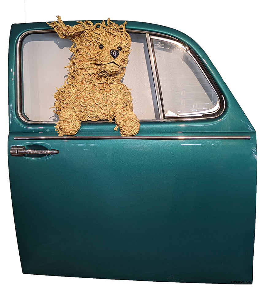 Golden Doodle in a Teal VW Door original sculpture by artist dd larue for sale at raitman art galleries