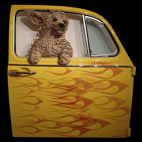 Doodle in a Yellow VW Door with Flames