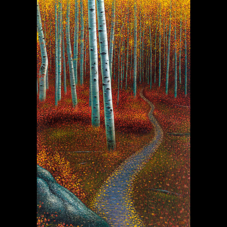 Down The Wooded Path Autumn Fall Landscape by artist Thane Gorek for sale at Raitman Art Galleries