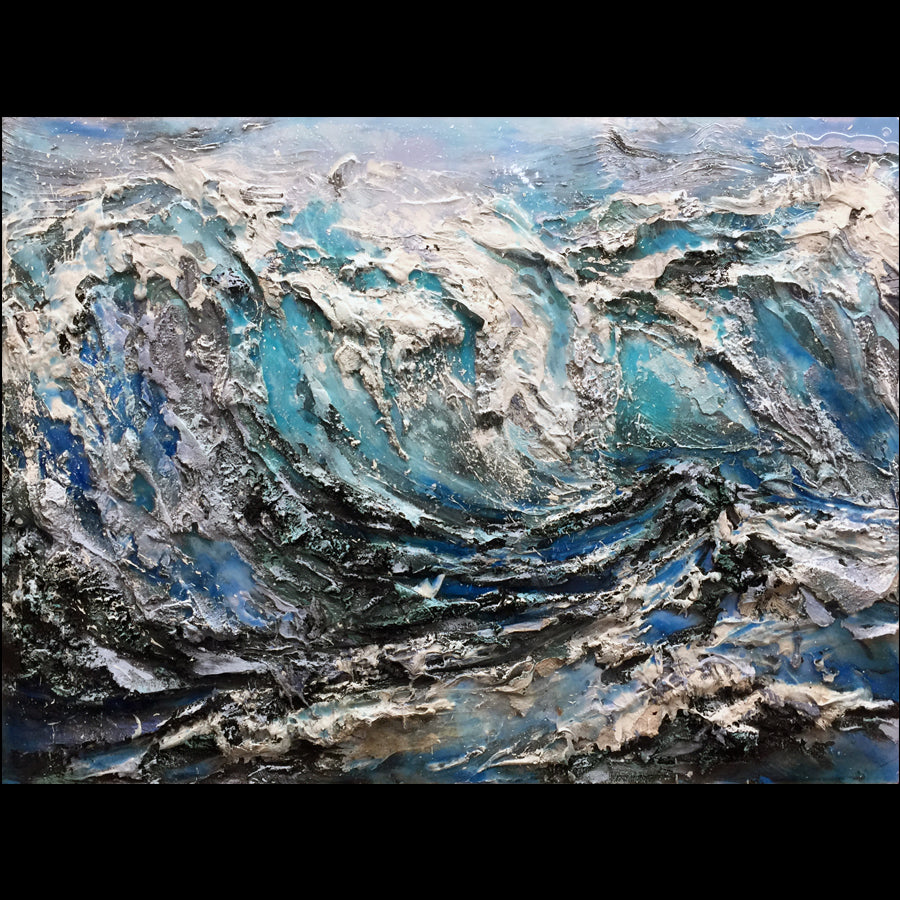 Dreaming of the ocean original wave painting artist barak rozenvain art for sale