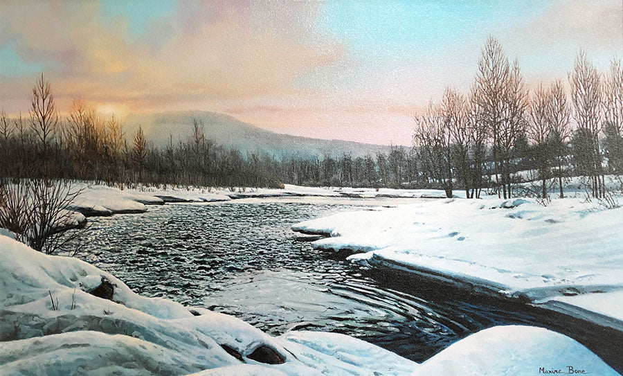 Dusk At The River original oil on canvas Steamboat Springs river landscape painting by Colorado Springs artist Maxine Bone