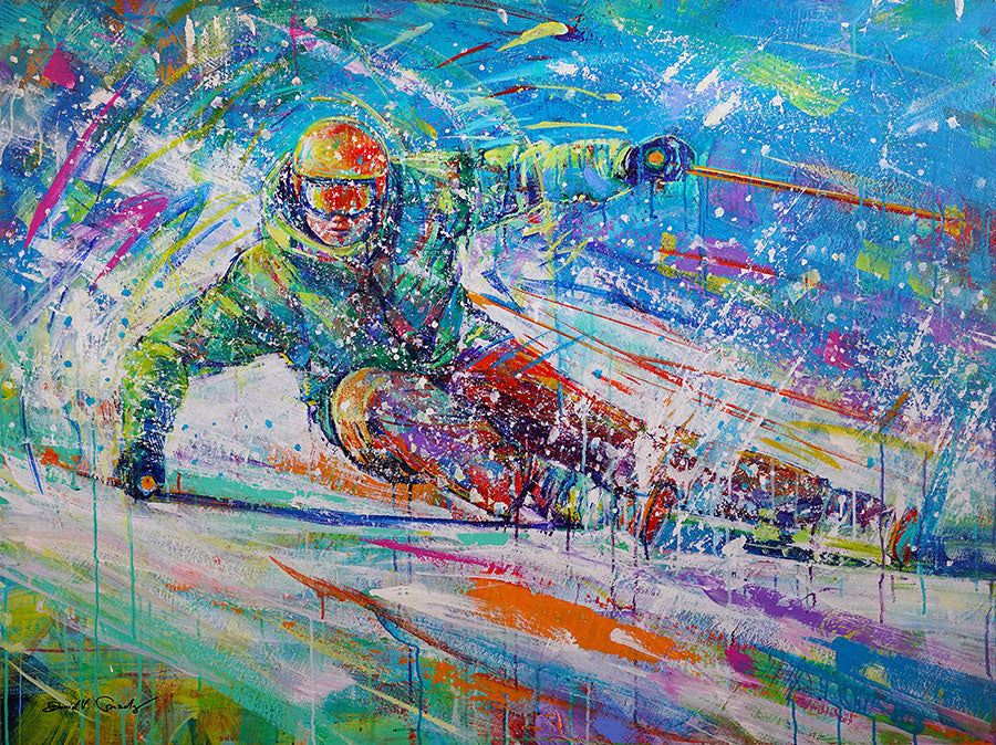 Edging the snow original acrylic on panel ski painting by Colorado artist David V Gonzales