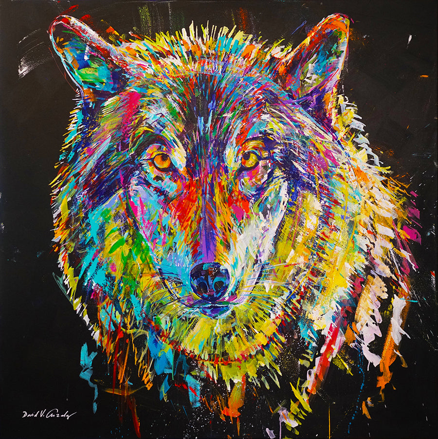 Enthralled Wolf Painting by Artist David Gonzales in Vail art gallery