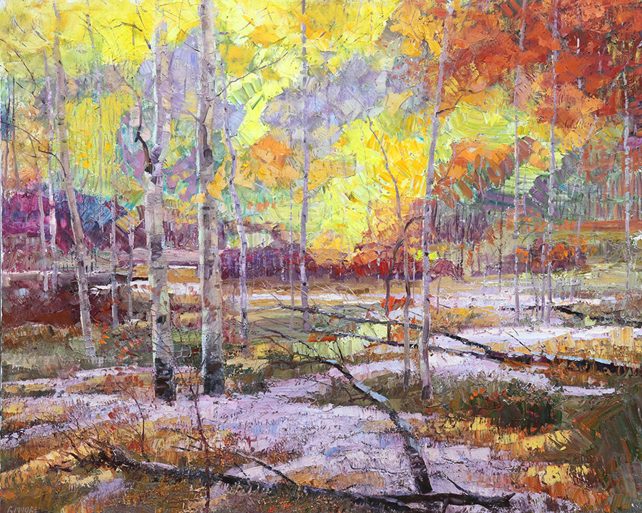 Early Snow original fall colors aspen forest painting by artist robert moore for sale