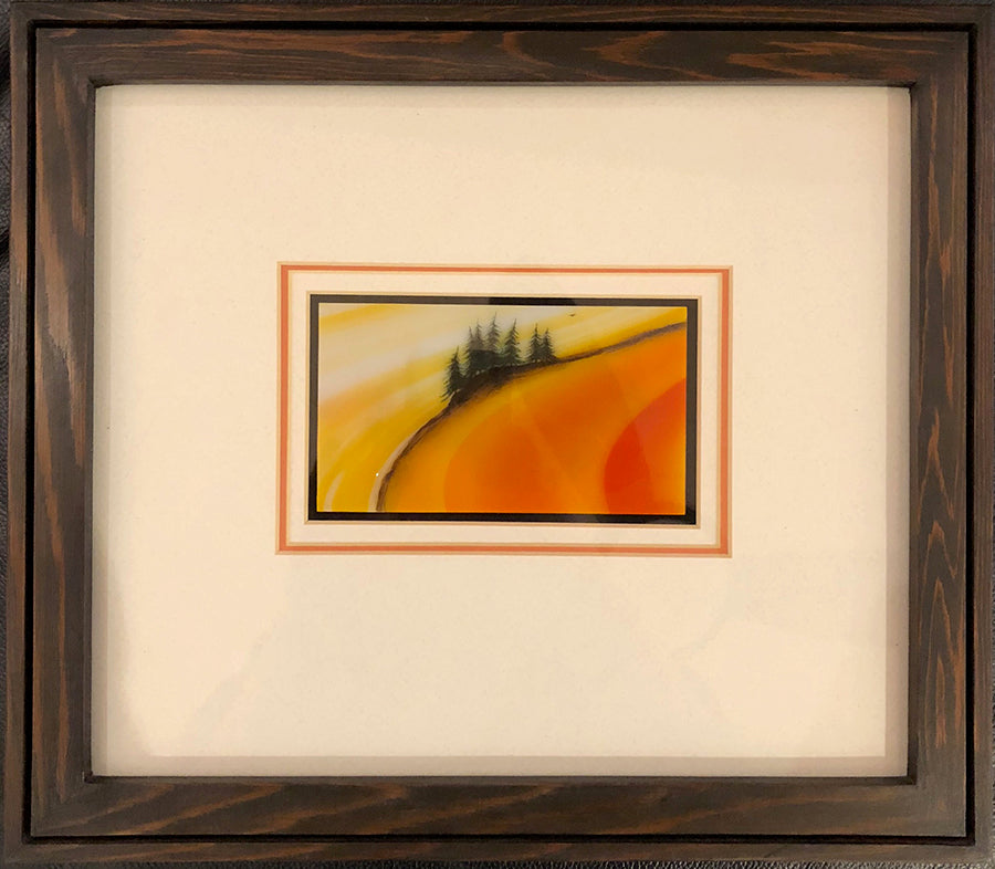 Early Morning Light original glass fired powder painting by Colorado artist Gary Vigen