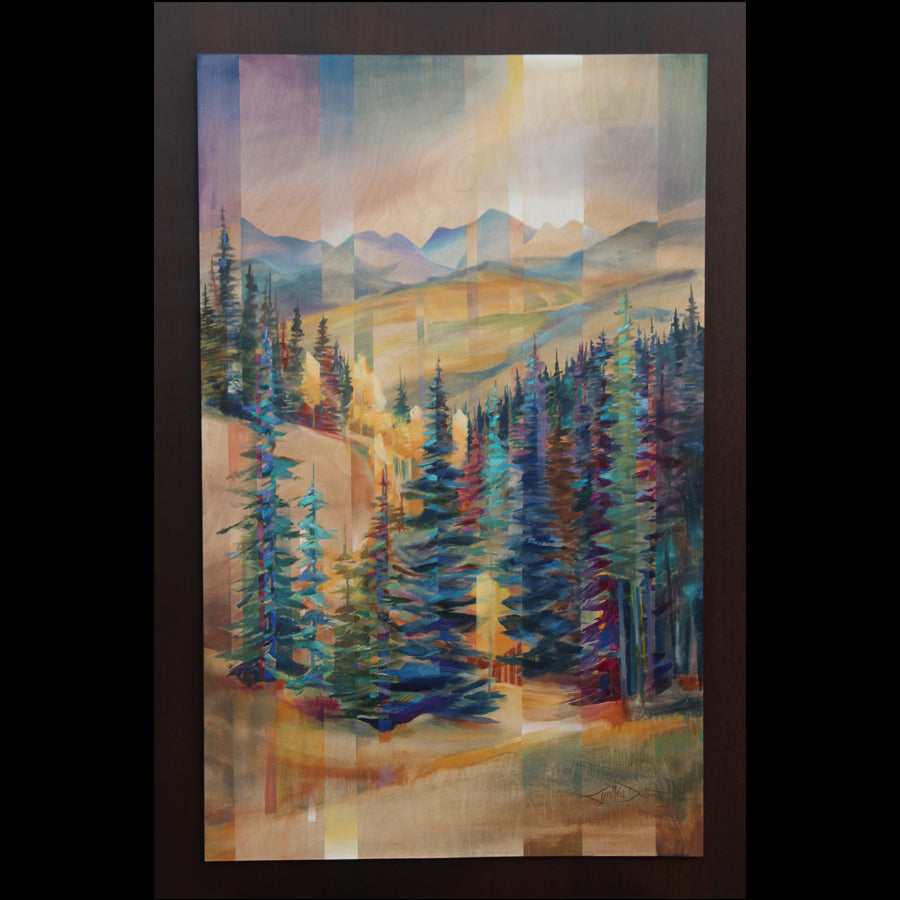 Colorado Artist Cynthia Duff Acrylic Painting on Wood of Mountains: Embellished Elevation