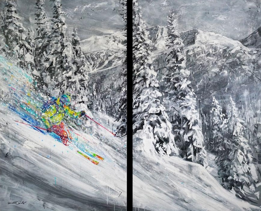 Euphoric Powder original ski painting by artist David V Gonzales
