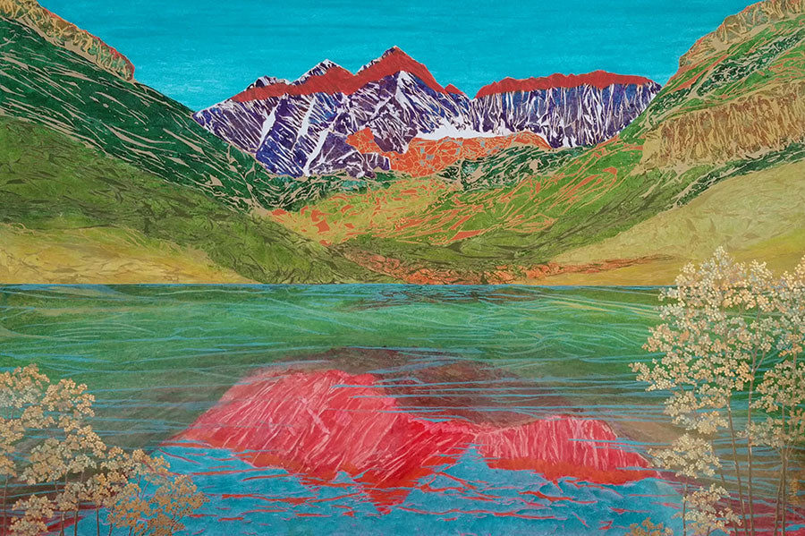 Evening Enters Wearing Alpenglow original landscape painting by California artist Kate McCavitt