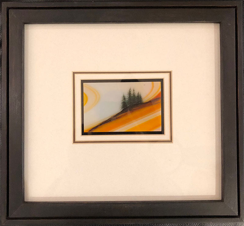 Evening Light original glass fired powder painting by Colorado artist Gary Vigen