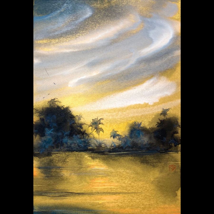Evening Reverie arizona painting gold artist Kay Stratman for sale