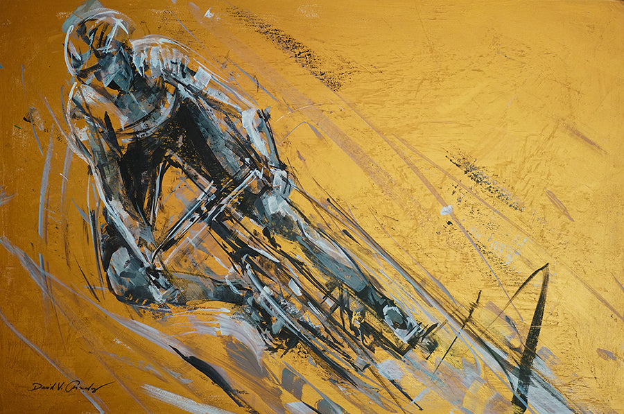 Fierce Cycling Race Painting by artist David V. Gonzales