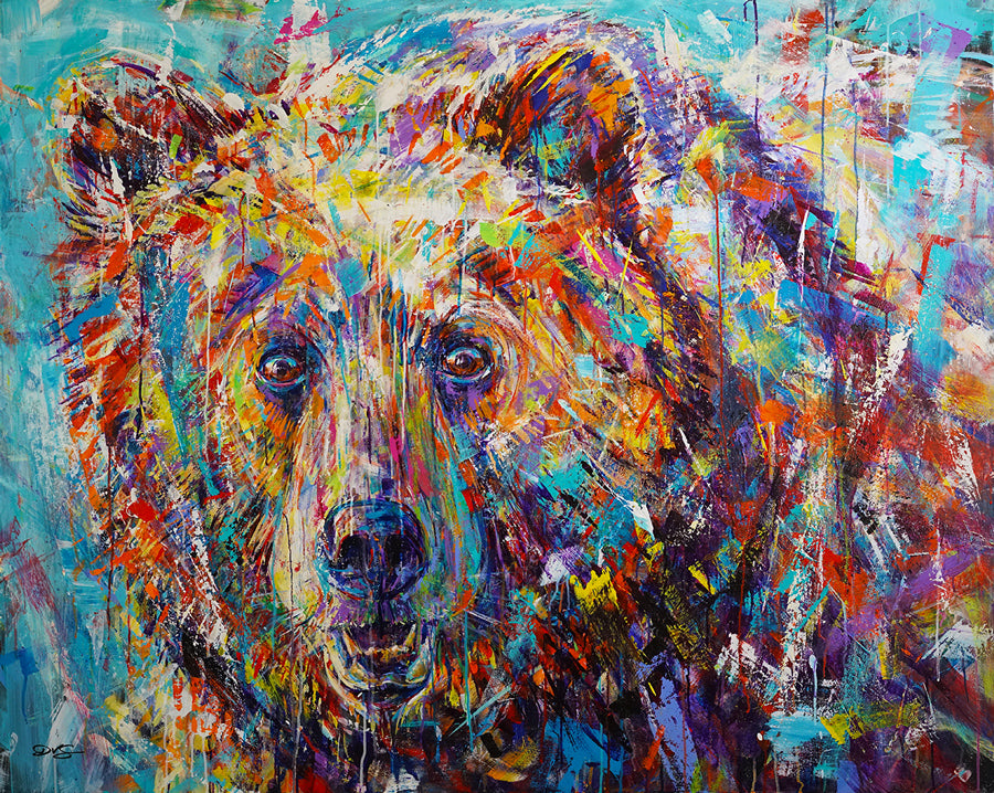 Fortitude colorful bear painting by David Gonzales