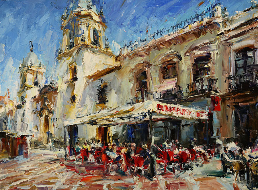 Feeling Spain original oil on canvas painting by Denver Colorado artist Lyudmila Agrich