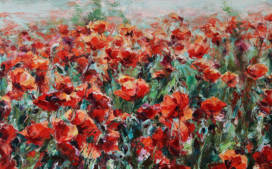 Field of Poppies original oil on canvas flower painting by artist Lyudmila Agrich