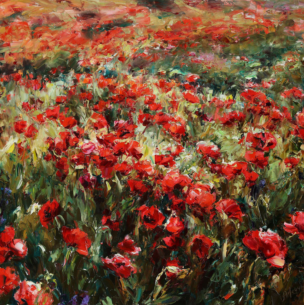 Field of Poppies original oil on canvas painting by Denver Colorado artist Lyudmila Agrich