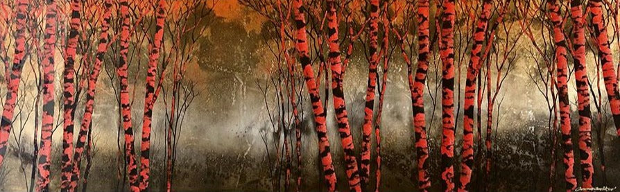 Fire Light original carved acrylic and painted landscape by colorado artist Christopher Owen Nelson