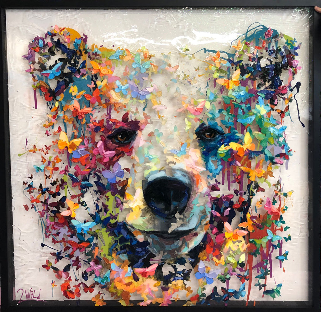 Fluttering Friend original mixed media bear painting by artist 2wild collaboration between Miri and Barak Rozenvain