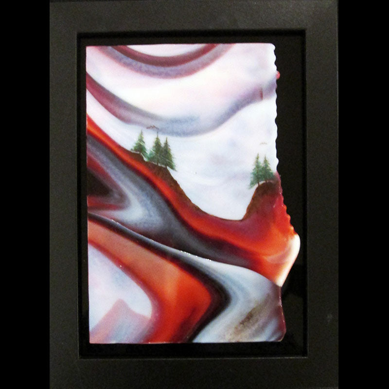 Focus on the Advancing Clouds original glass fired powder painting by Colorado artist Gary Vigen