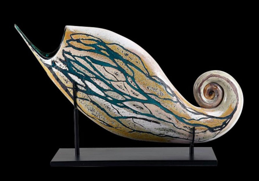 Fossil series hand blown glass art by artists Jared and Nicole Davis from Crawford Colorado North Rim Studio