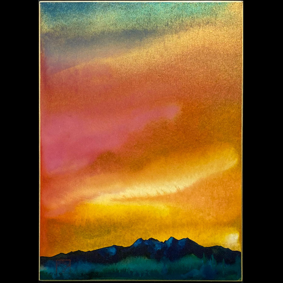 Four Peaks wilderness arizona original watercolor shikishi board art art artist Kay Stratman for sale