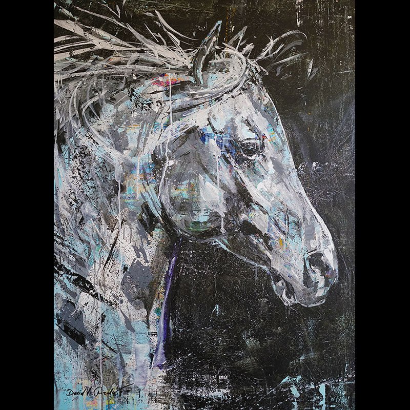 Free Spirit original acrylic on museum panel horse painting by Colorado artist David Gonzales