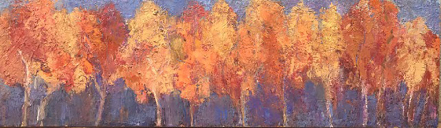 Friends original oil on canvas painting by Colorado artist Judy Greenan impressionist impressionism tree painting trees