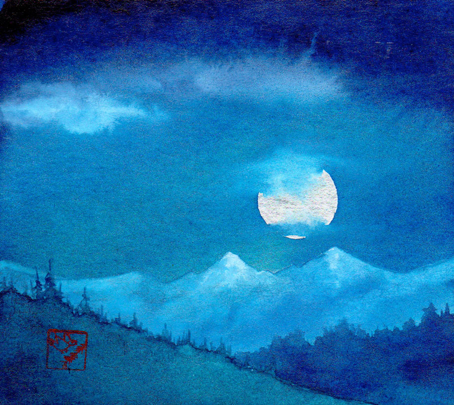 Full Moon above the Divide original mountain painting by artist kay stratman