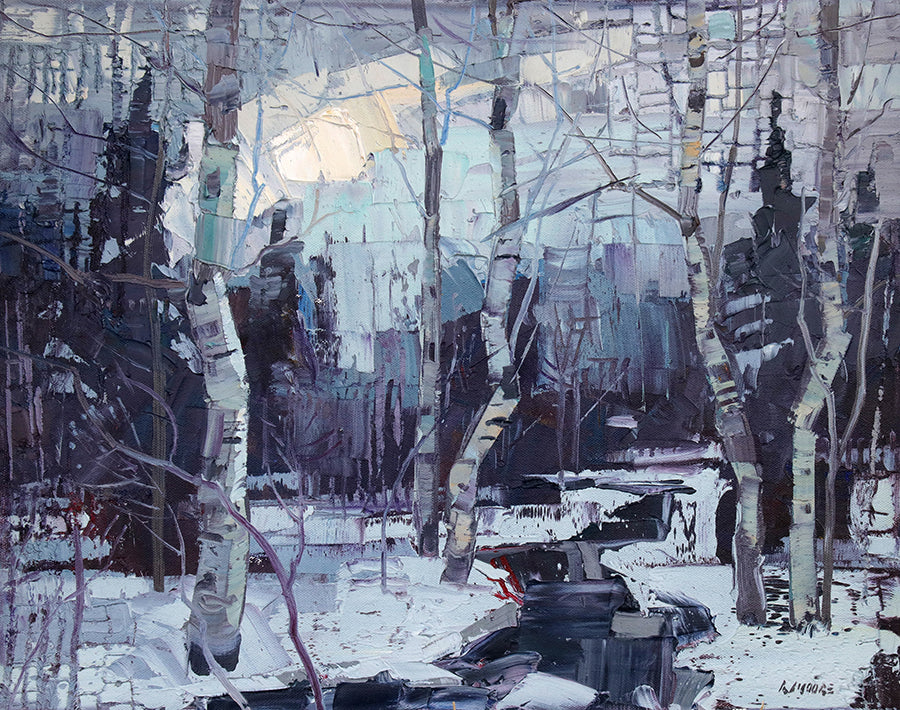 Full Moon original landscape oil painting by artist Robert Moore for sale