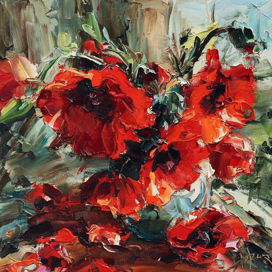 Garden Poppies flower painting by artist Lyudmila Agrich