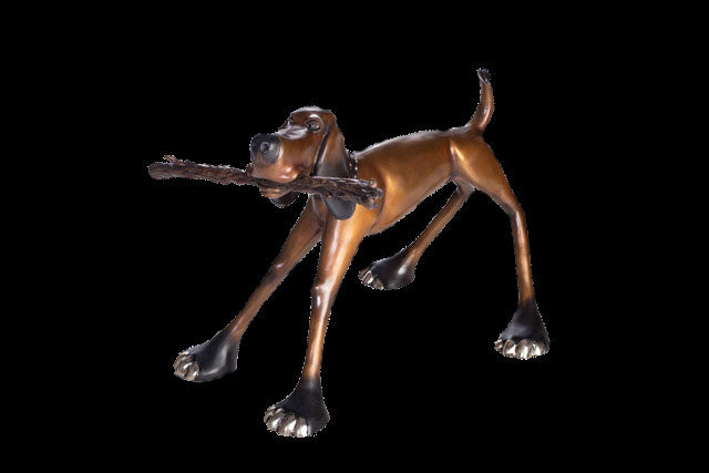George Harvey dog bronze sculpture by California based artist Marty Goldstein