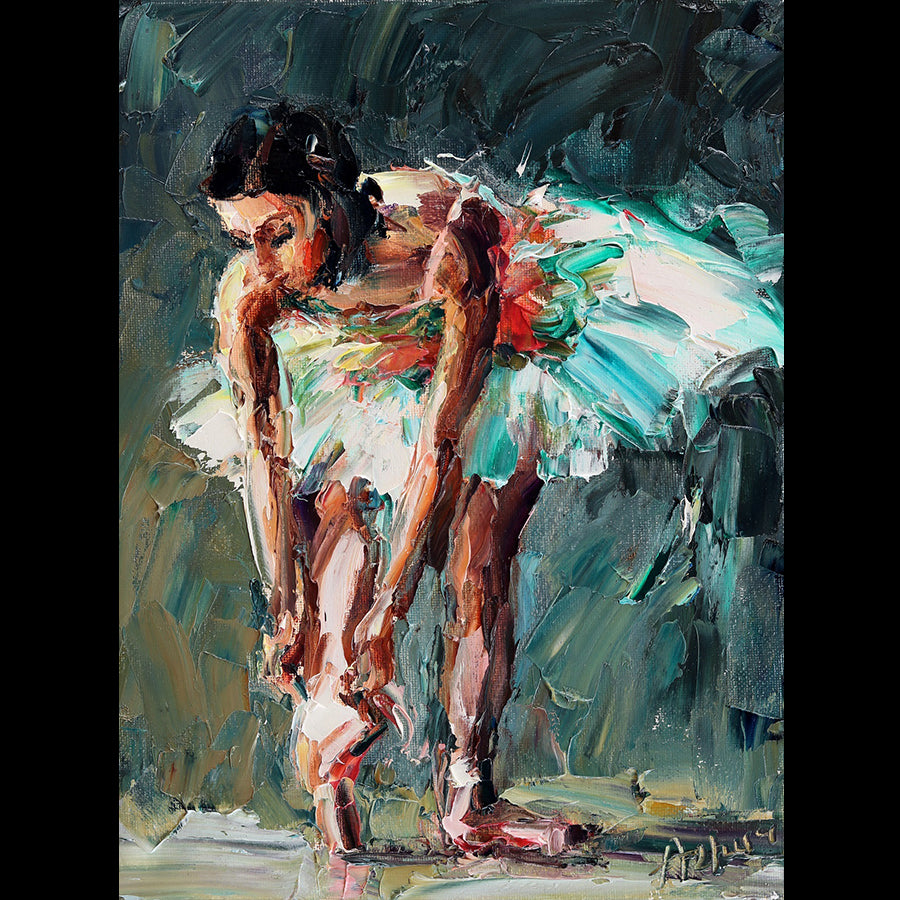 Getting Ready ballet painting by artist Lyudmila Agrich