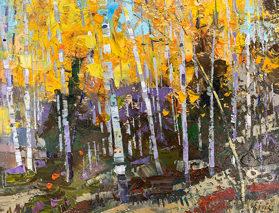 Glorious September fall forest painting by artist robert moore for sale