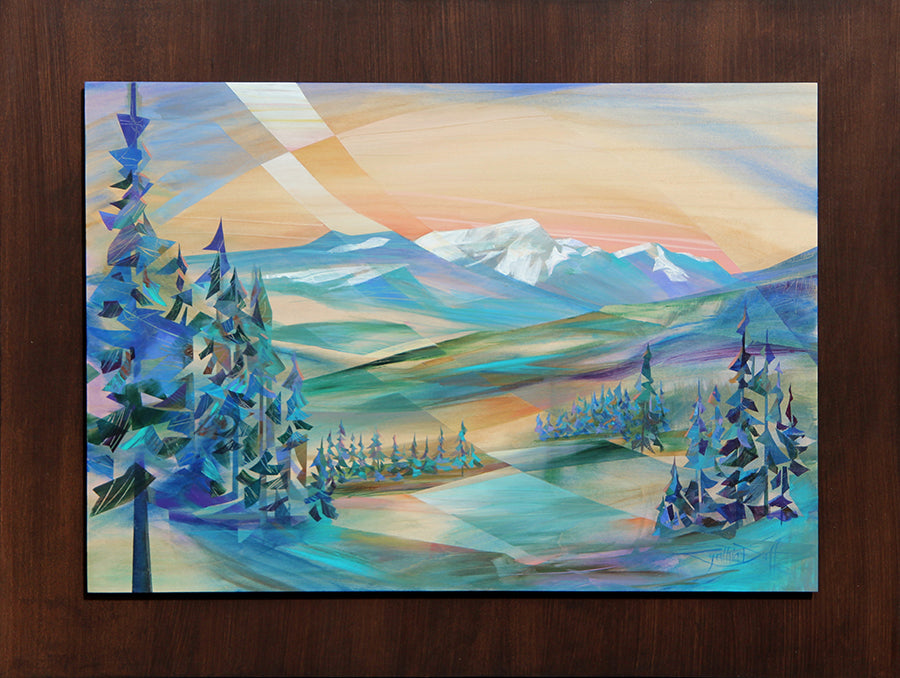 Cynthia Duff Original Painting on Wood of mountain landscape: Good Vibes
