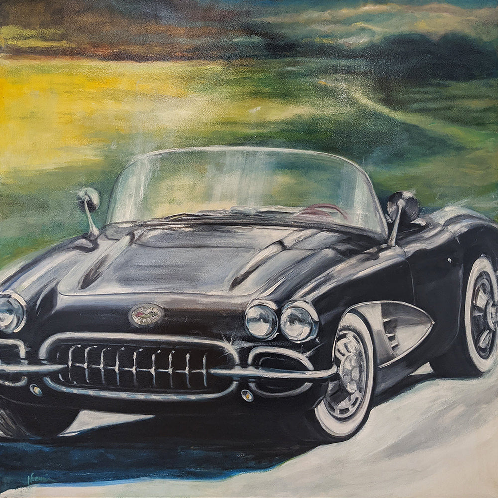 Corvette 1959 original car painting by noemi kosmowski for sale at Raitman Art Galleries located in Breckenridge and Vail colorado
