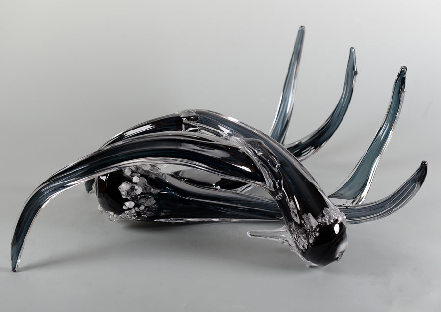 Hand blown glass grey antlers by artist Jared and Nicole Davis for sale
