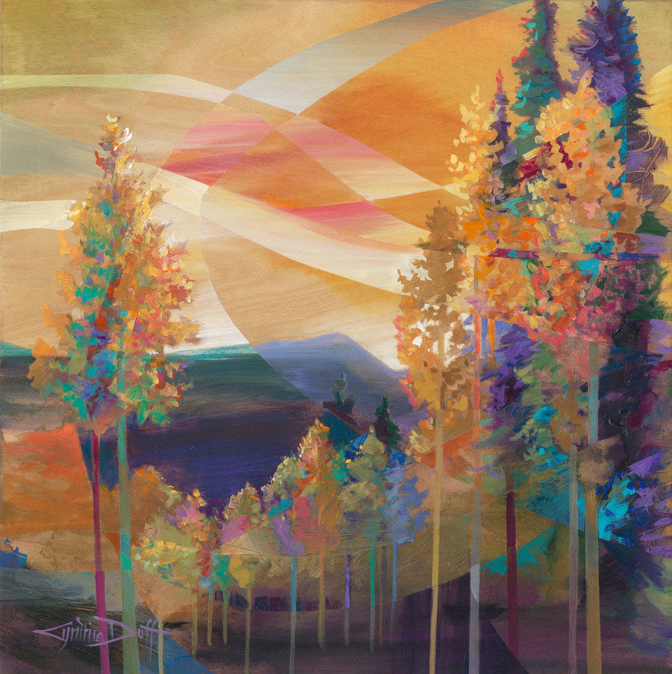 Grove of One original acrylic on birch wood landscape painting by Colorado artist Cynthia Duff