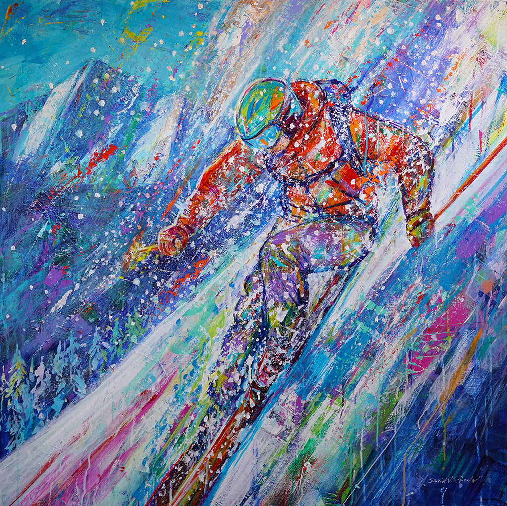 Holy Pow Day original acrylic on panel ski painting by Colorado artist David V Gonzales