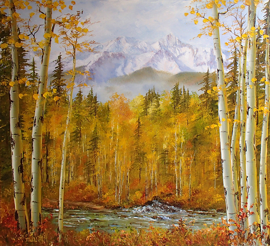 Heart of Gold Oil Painting by artist Katherine McNeill in Vail gallery